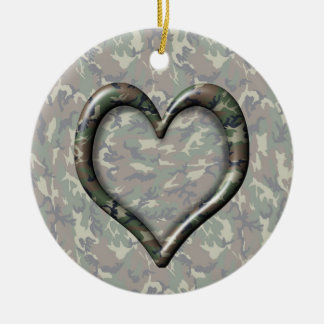 Camouflage Woodland Forest Heart on Camo Round Ceramic Decoration