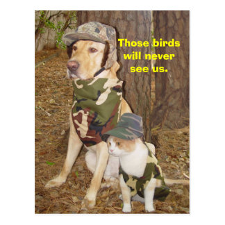 Camouflaged Hunters Postcard