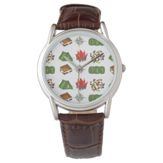 Camp Camping Fire Tent Trail Mix Compass Watch
