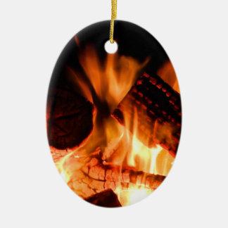 Camp Fire Ceramic Ornament