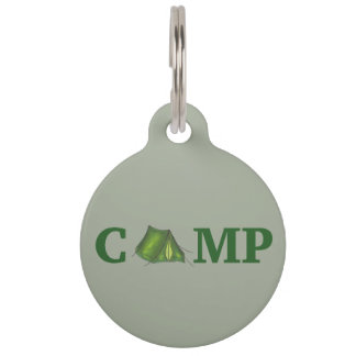 CAMP Green Tent Summer Camping Hiking Dog Pet Tag