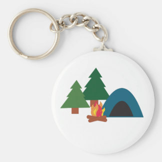 Camp Site Basic Round Button Key Ring