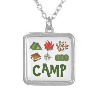 CAMP Tent Campfire Compass Camping Smores Necklace