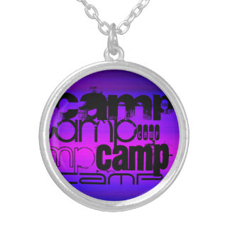 Camp; Vibrant Violet Blue and Magenta. Round Pendant Necklace