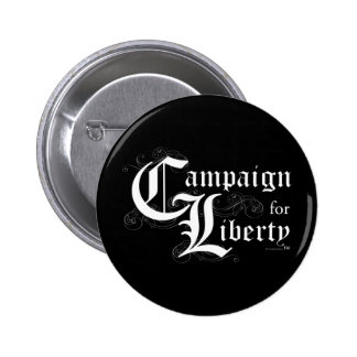 Campaign for Liberty LOGO white w black background 6 Cm Round Badge