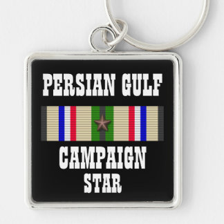 CAMPAIGN STAR / PERSIAN GULF WAR VETERAN Silver-Colored SQUARE KEY RING