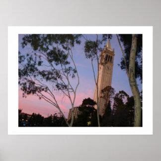 Campanile Sunset Poster, Illuminated at Dusk Poster
