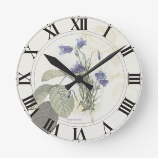 Campanula Rose Botanical Clockface Round Clock
