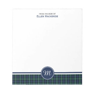 Campbell Clan Navy Blue Scottish Tartan Monogram Notepad