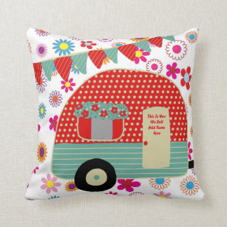 Camper Caravan Sayings Retro Red Green Custom Cushion