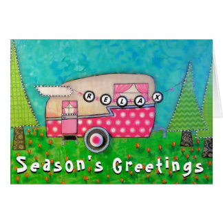 Camper Christmas Card Pink Retro Camper