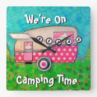 Camper Clock, We're on Camping Time, Glamping Wall Clocks
