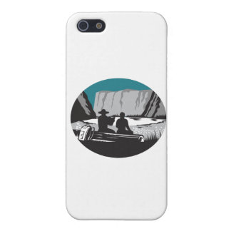 Camper Reading Sitting on Log Oval Woodcut iPhone 5 Case