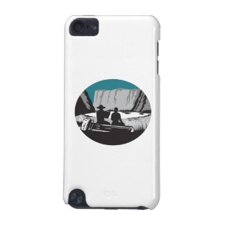 Camper Reading Sitting on Log Oval Woodcut iPod Touch (5th Generation) Cases