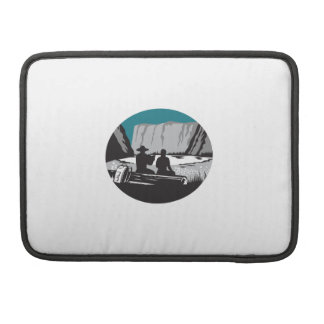 Camper Reading Sitting on Log Oval Woodcut Sleeve For MacBook Pro