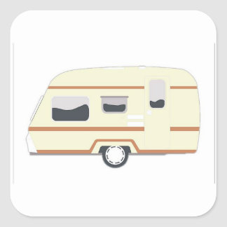 Camper Trailer Camping Van Square Sticker