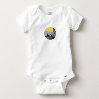 Campers Sitting Cooking Campfire Circle Woodcut Baby Onesie