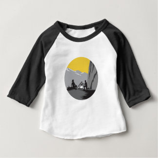 Campers Sitting Cooking Campfire Circle Woodcut Baby T-Shirt