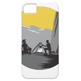 Campers Sitting Cooking Campfire Circle Woodcut Barely There iPhone 5 Case