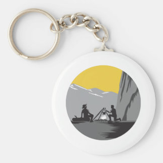 Campers Sitting Cooking Campfire Circle Woodcut Basic Round Button Key Ring