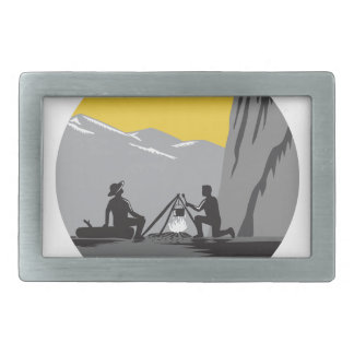 Campers Sitting Cooking Campfire Circle Woodcut Belt Buckle