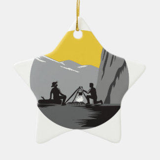 Campers Sitting Cooking Campfire Circle Woodcut Ceramic Ornament