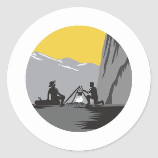 Campers Sitting Cooking Campfire Circle Woodcut Classic Round Sticker