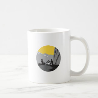 Campers Sitting Cooking Campfire Circle Woodcut Coffee Mug