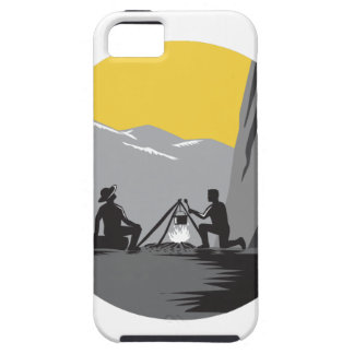 Campers Sitting Cooking Campfire Circle Woodcut iPhone 5 Case