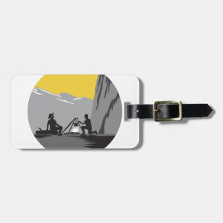 Campers Sitting Cooking Campfire Circle Woodcut Luggage Tag