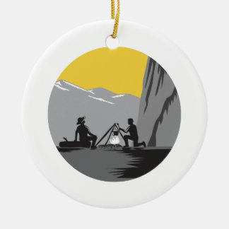 Campers Sitting Cooking Campfire Circle Woodcut Round Ceramic Decoration