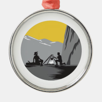 Campers Sitting Cooking Campfire Circle Woodcut Silver-Colored Round Decoration