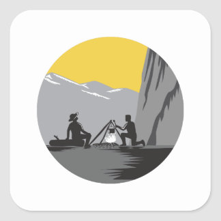 Campers Sitting Cooking Campfire Circle Woodcut Square Sticker