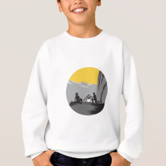 Campers Sitting Cooking Campfire Circle Woodcut Sweatshirt