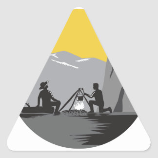 Campers Sitting Cooking Campfire Circle Woodcut Triangle Sticker