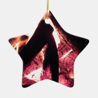 Campfire at night ceramic star decoration
