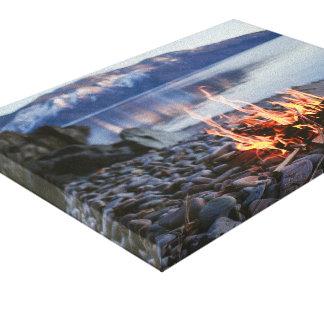 campfire ate lake canvas print