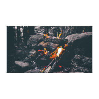 Campfire | Black and White | Adventure Canvas Print