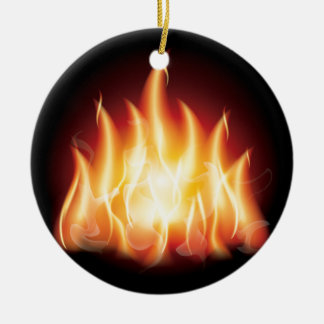 Campfire Flame Fire Round Ceramic Decoration