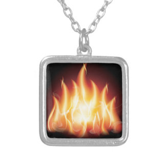 Campfire Flame Fire Silver Plated Necklace