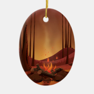 Campfire in the forest. ceramic oval decoration