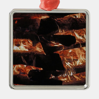 Campfire Silver-Colored Square Decoration