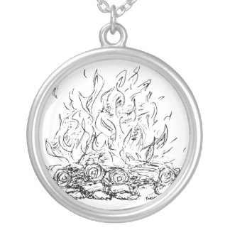 Campfire Simple Sketch Silver Plated Necklace