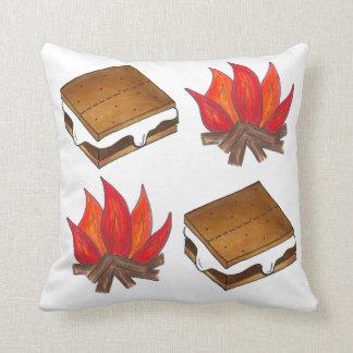 Campfire Smores Marshmallow Camping Pillow