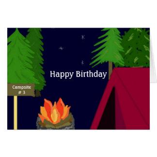 Campground Campfire Birthday Wishes Card