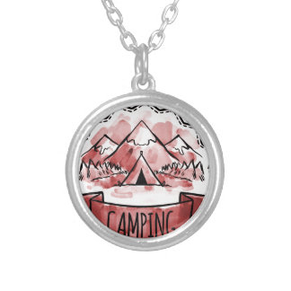 Camping Badge Silver Plated Necklace