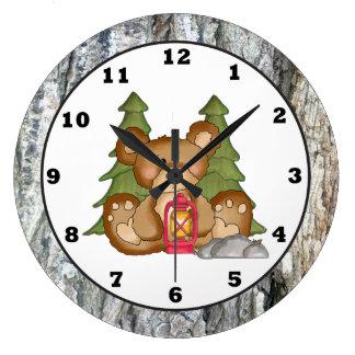 Camping Bear Camper Clock