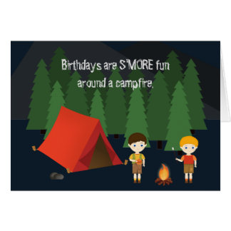 Camping Birthday Party Card