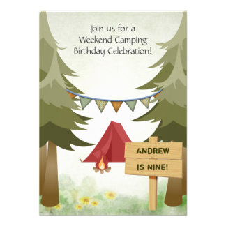 Camping Birthday Party Invitation for Boys