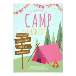 Camping birthday invitations announcements zazzle camping birthday party invitation pink green filmwisefo Choice Image